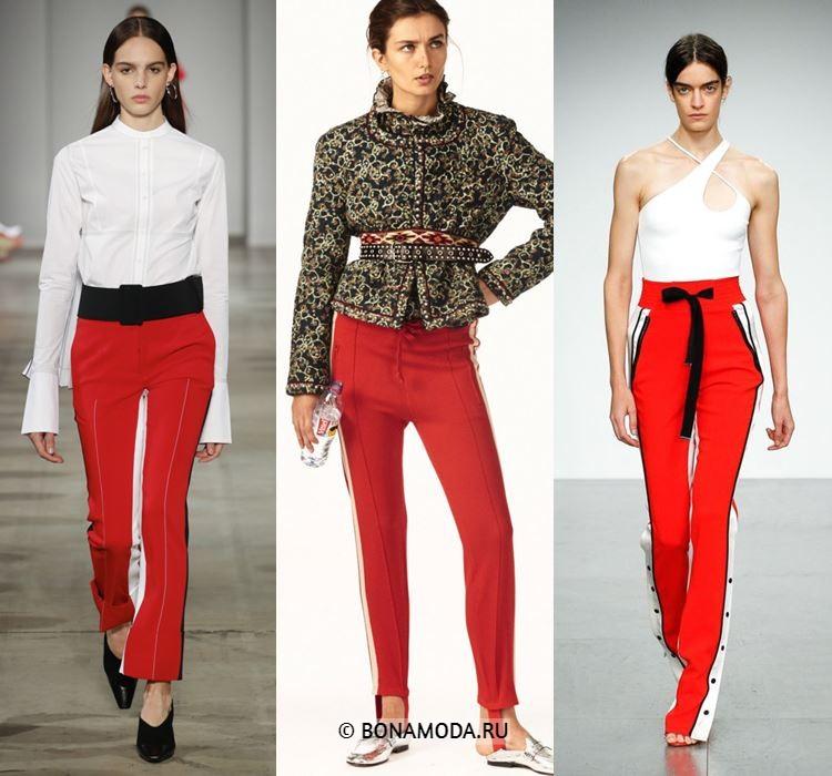 Женские брюки весна-лето 2018 - Яркие красные брюки