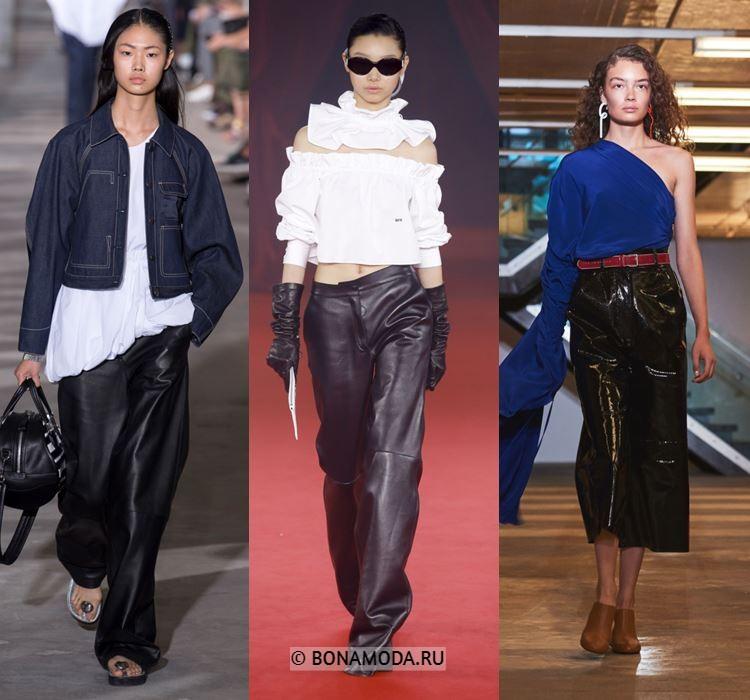 Женские брюки весна-лето 2018 - Широкие чёрные кожаные брюки