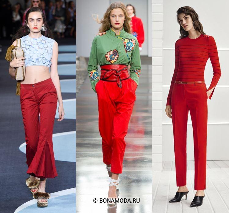 Женские брюки весна-лето 2018 - Модные красные брюки