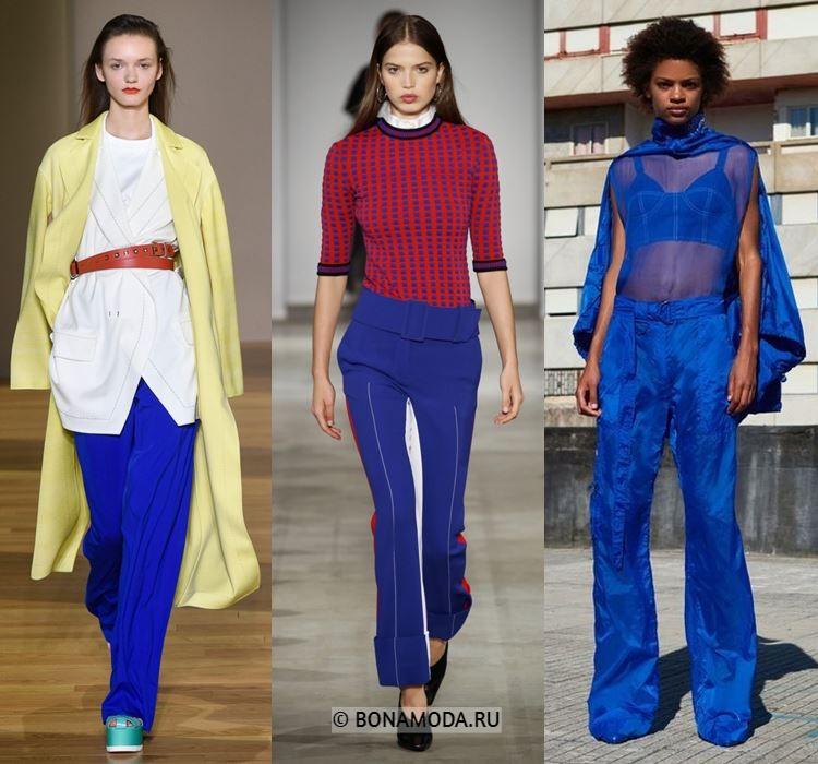 Женские брюки весна-лето 2018 - Модные синие брюки