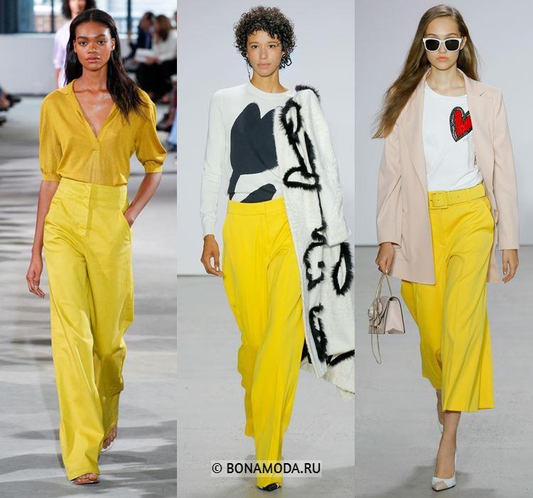 Женские брюки весна-лето 2018 - Яркие летние жёлтые брюки