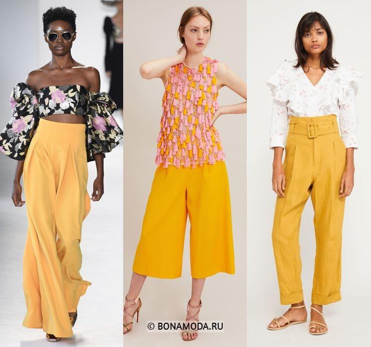 Женские брюки весна-лето 2018 - Летние жёлто-оранжевые брюки