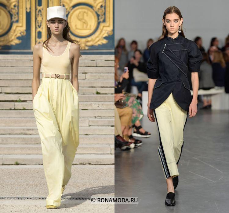 Женские брюки весна-лето 2018 - Светлые жёлтые летние брюки