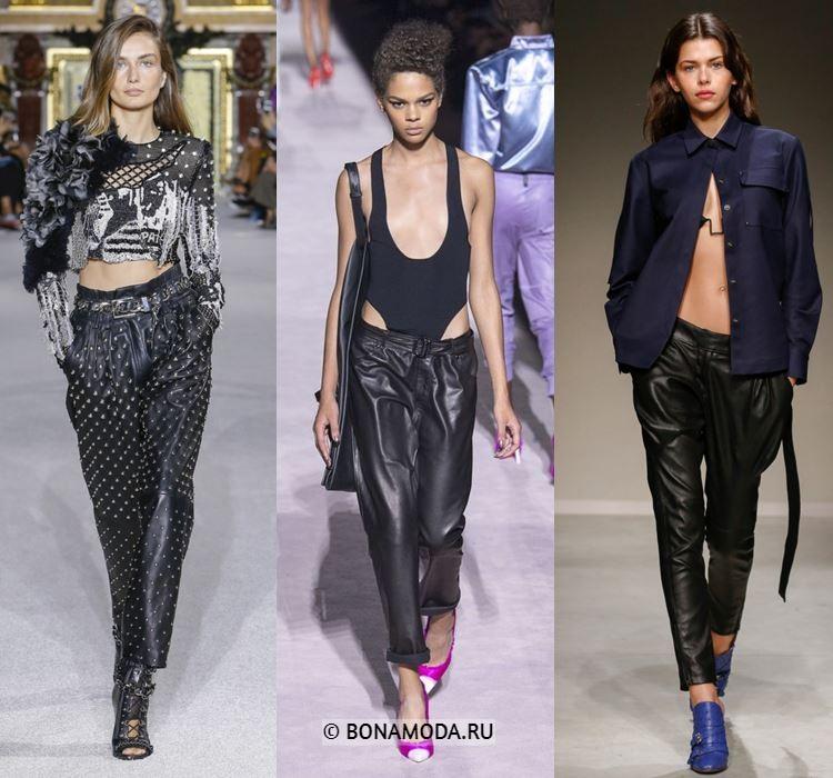 Женские брюки весна-лето 2018 - Зауженные чёрные кожаные брюки