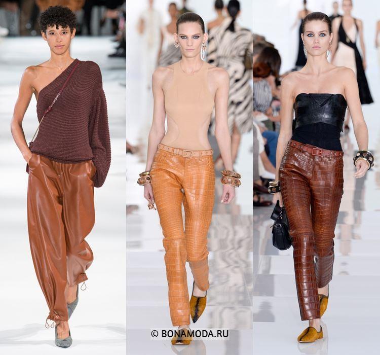 Женские брюки весна-лето 2018 - Бежевые и коричневые кожаные брюки