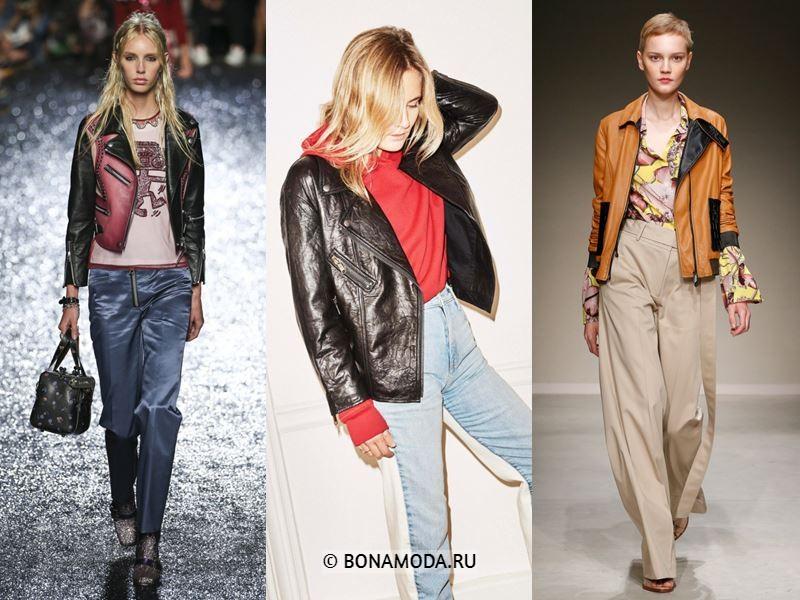 Женские куртки весна-лето 2018 - Чёрные и коричневые кожаные косухи