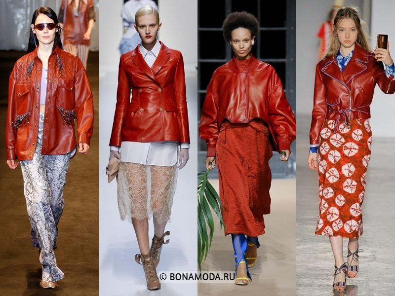 Женские куртки весна-лето 2018 - Красные кожаные куртки