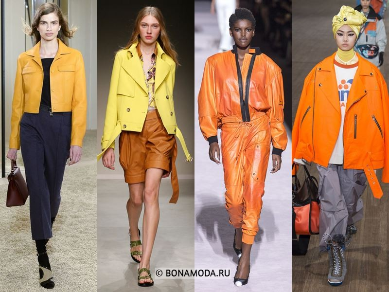 Женские куртки весна-лето 2018 - Яркие жёлтые и оранжевые куртки