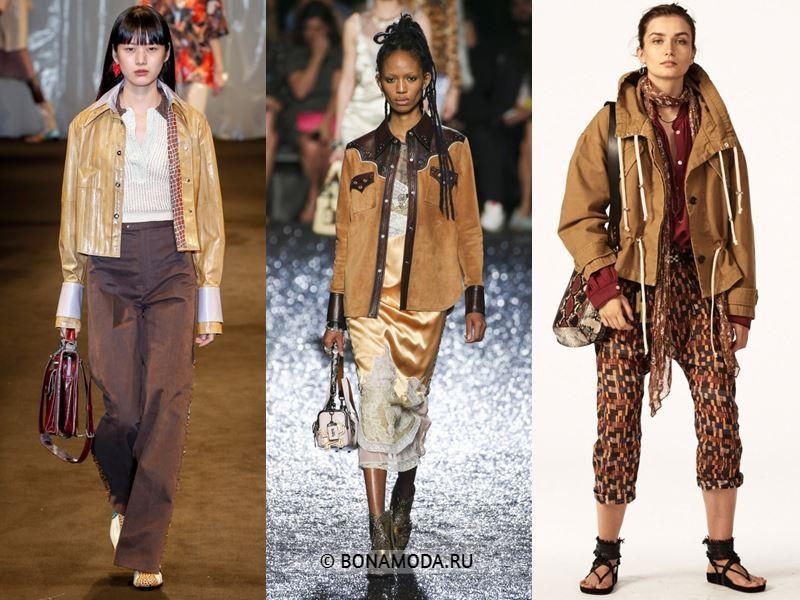 Женские куртки весна-лето 2018 - Модные бежевые куртки на пуговицах