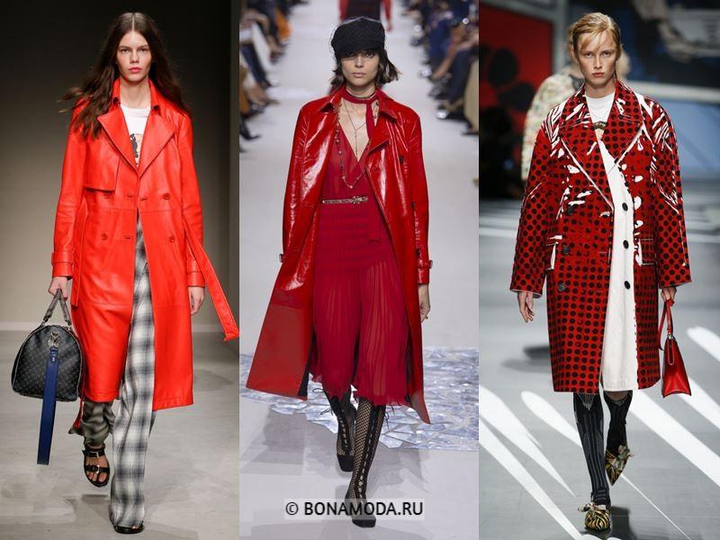 Женские пальто весна-лето 2018 - Красные кожаные пальто
