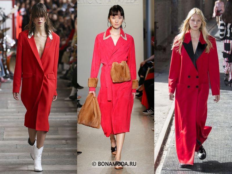Женские пальто весна-лето 2018 - Модные красные пальто: