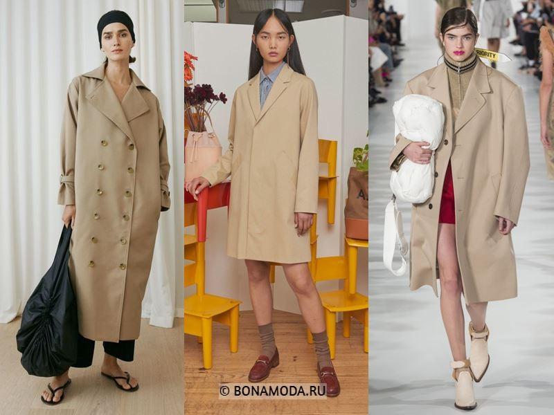 Женские пальто весна-лето 2018 - Модные бежевые пальто