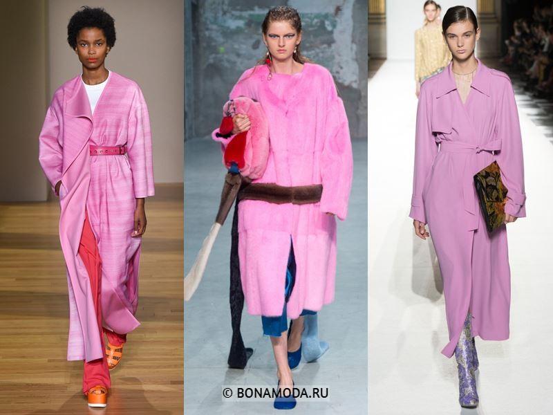 Женские пальто весна-лето 2018 - Ярко-розовые пальто