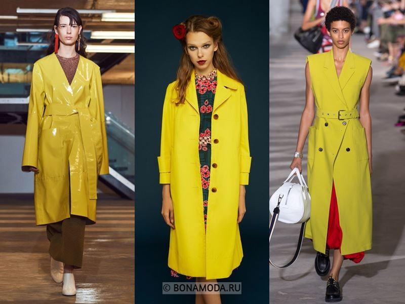 Женские пальто весна-лето 2018 - Ярко-жёлтые пальто