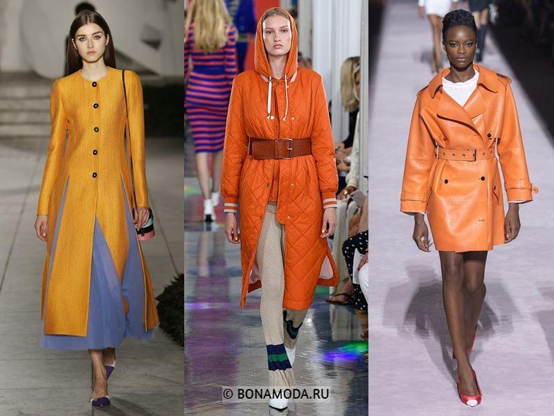 Женские пальто весна-лето 2018 - Яркие оранжевые пальто