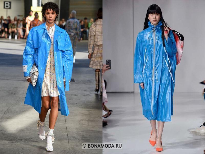 Женские пальто весна-лето 2018 - Яркие голубые пальто