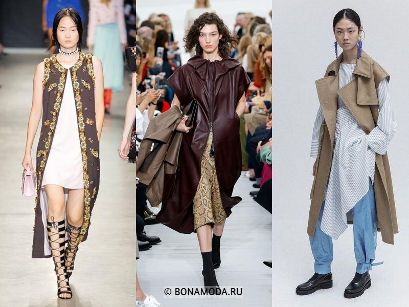 Женские пальто весна-лето 2018 - Модные пальто без рукавов