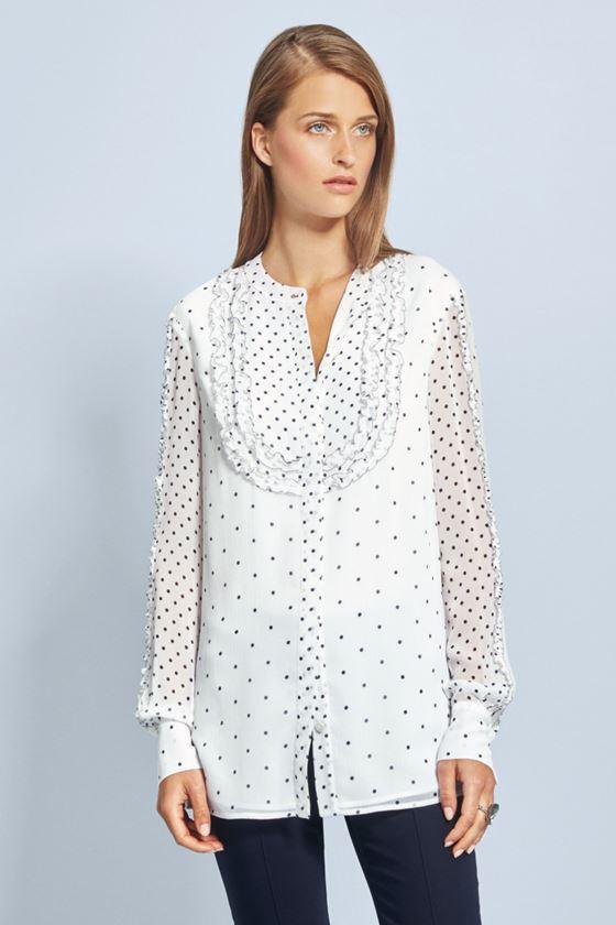 Модные белые блузки весна-лето 2018 - Белая блузка в мелкий горошек