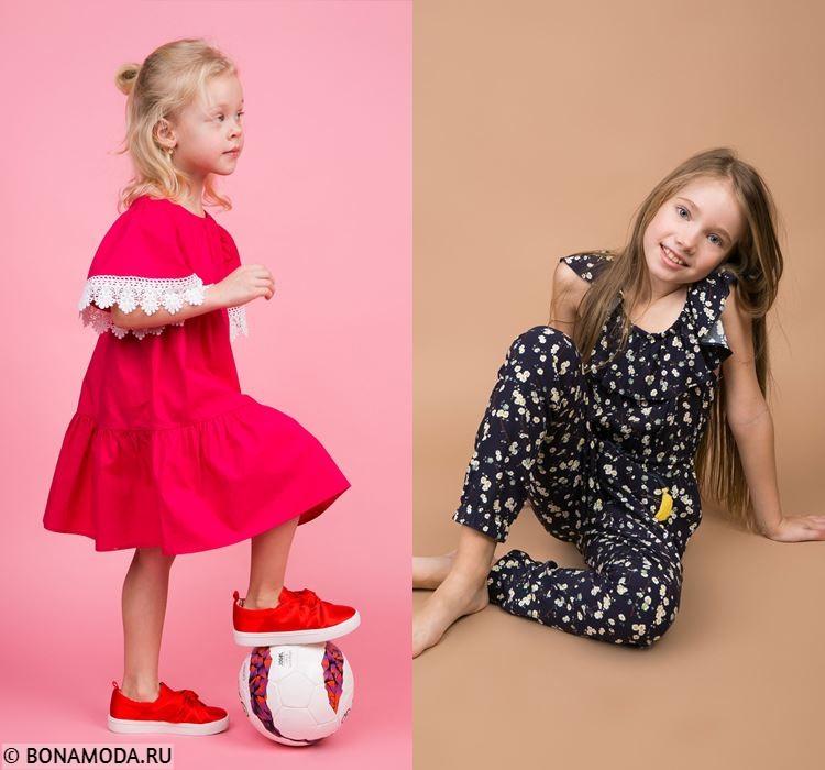 Детская коллекция BAON весна-лето 2018 - Летнее красное платье и чёрный костюм с принтом