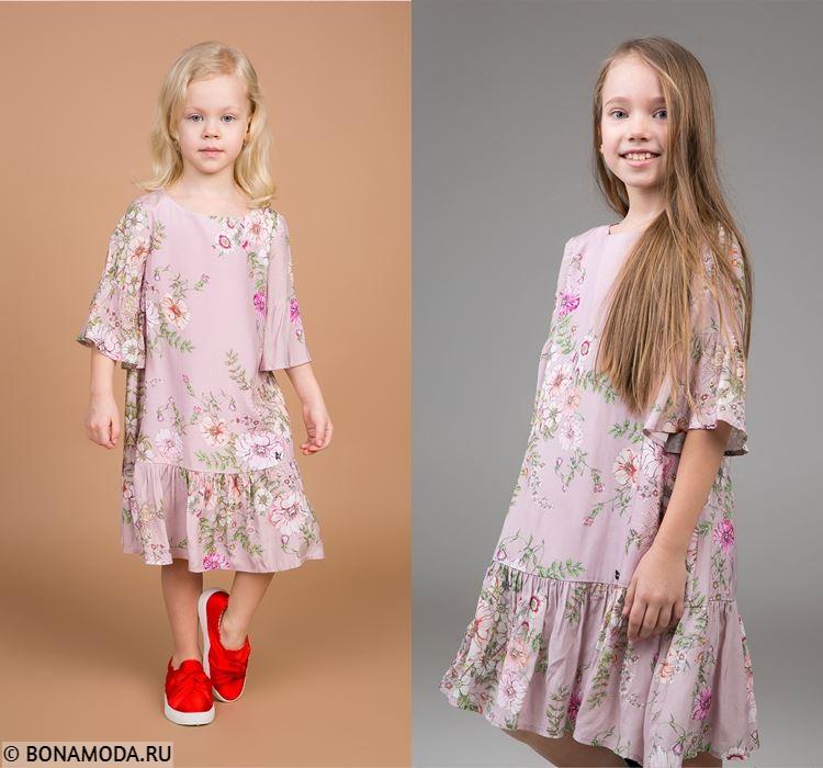 Детская коллекция BAON весна-лето 2018 -  Розовые платья с цветочным принтом для девочек
