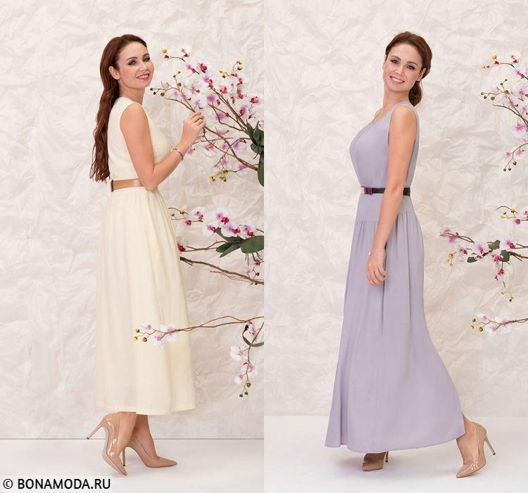Женская коллекция BAON весна-лето 2018 - вечерние платья бледно-жёлтого и светло-лилового
