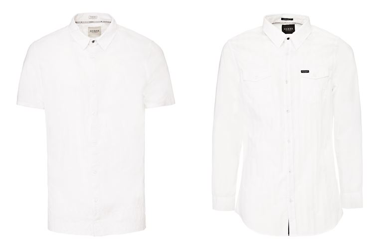 Мужская коллекция Guess Jeans весна-лето 2018 - белые рубашки