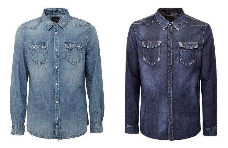 Мужская коллекция Guess Jeans весна-лето 2018 - синие джинсовые рубашки