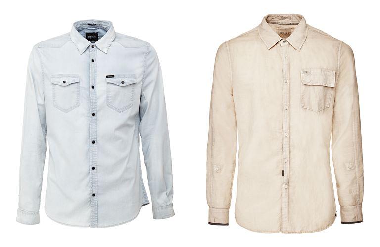Мужская коллекция Guess Jeans весна-лето 2018 - голубая и бежевая рубашки