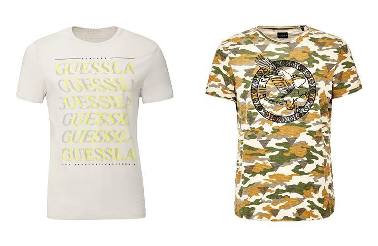 Мужская коллекция Guess Jeans весна-лето 2018 - футболки с надписью и защитным принтом