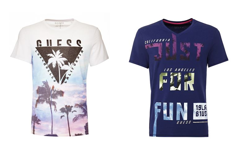 Мужская коллекция Guess Jeans весна-лето 2018 - футболки в калифорнийском стиле