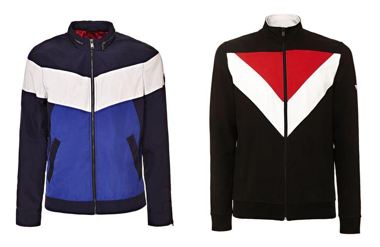 Мужская коллекция Guess Jeans весна-лето 2018 - спортивные куртки колор блок