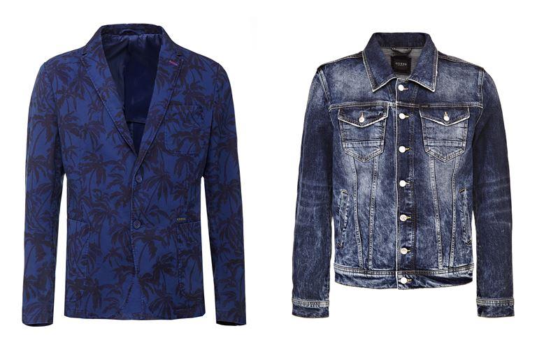 Мужская коллекция Guess Jeans весна-лето 2018 - синий пиджак и джинсовая куртка
