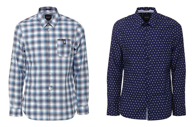 Мужская коллекция Guess Jeans весна-лето 2018 - рубашка в клетку и в горошек