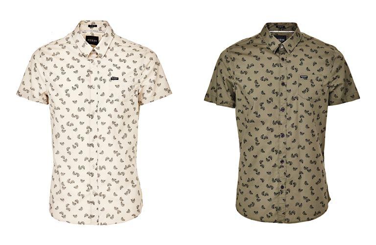 Мужская коллекция Guess Jeans весна-лето 2018 - рубашки с коротким рукавом и мелким принтом