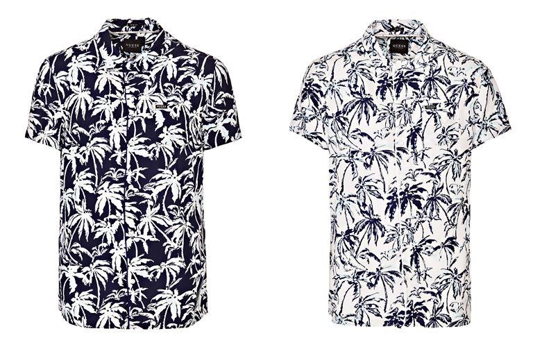 Мужская коллекция Guess Jeans весна-лето 2018 - рубашки с тропическим принтом-пальмами