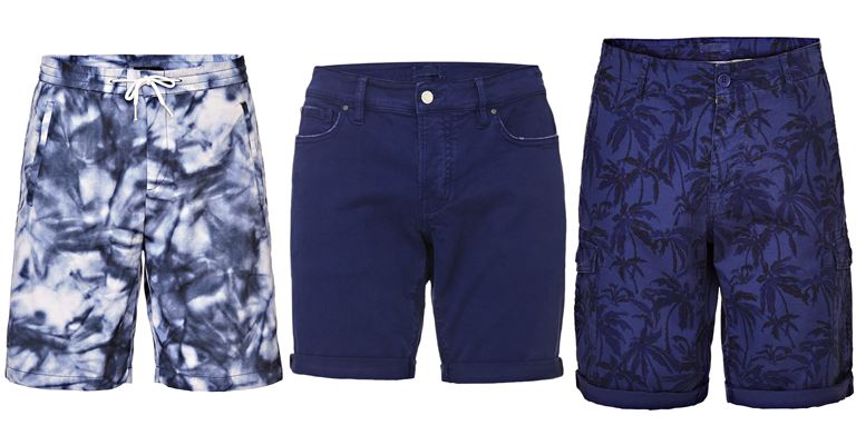 Мужская коллекция Guess Jeans весна-лето 2018 - синие шорты