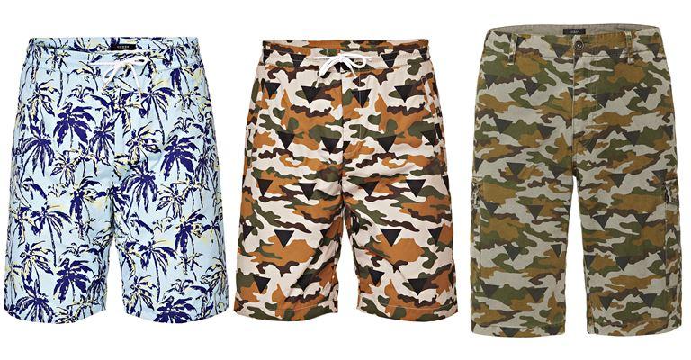 Мужская коллекция Guess Jeans весна-лето 2018 - летние шорты с тропическими принтами