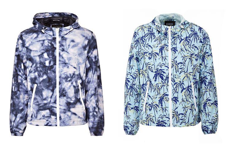 Мужская коллекция Guess Jeans весна-лето 2018 - синие куртки с капюшоном и принтом