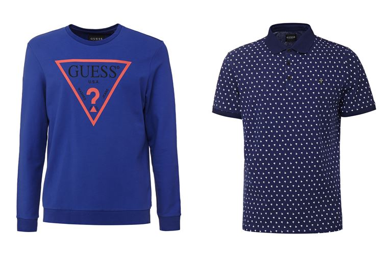 Мужская коллекция Guess Jeans весна-лето 2018 - синий свитшот и футболка-поло в горошек