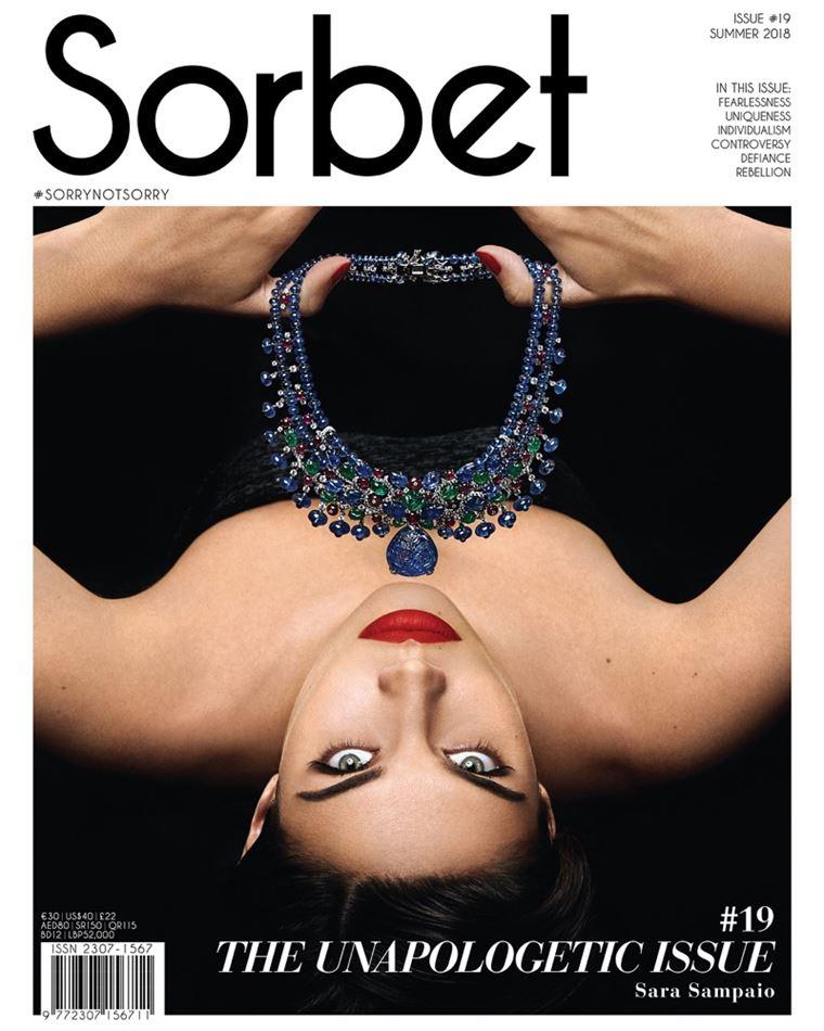 Сара Сампайо в украшениях Cartier в фотосессии журнала Sorbet лето-2018 - обложка журнала