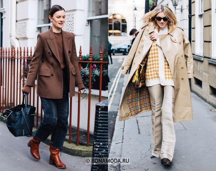 Уличный стиль Лондона осень-зима 2018-2019 - блейзер с джинсами и кожаный тренч с брюками