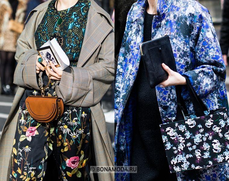Уличный стиль Лондона осень-зима 2018-2019 - Обилие цветочных принтов и модные сумочки