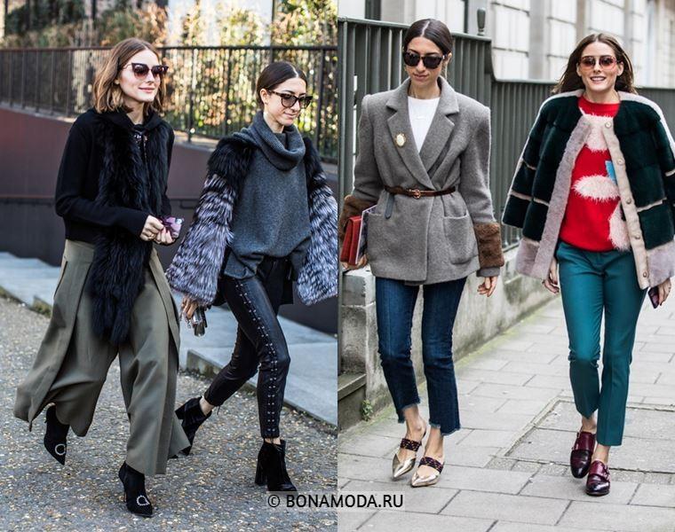 Уличный стиль Лондона осень-зима 2018-2019 - свитера, жакеты и кардиганы, укороченные джинсы скинни