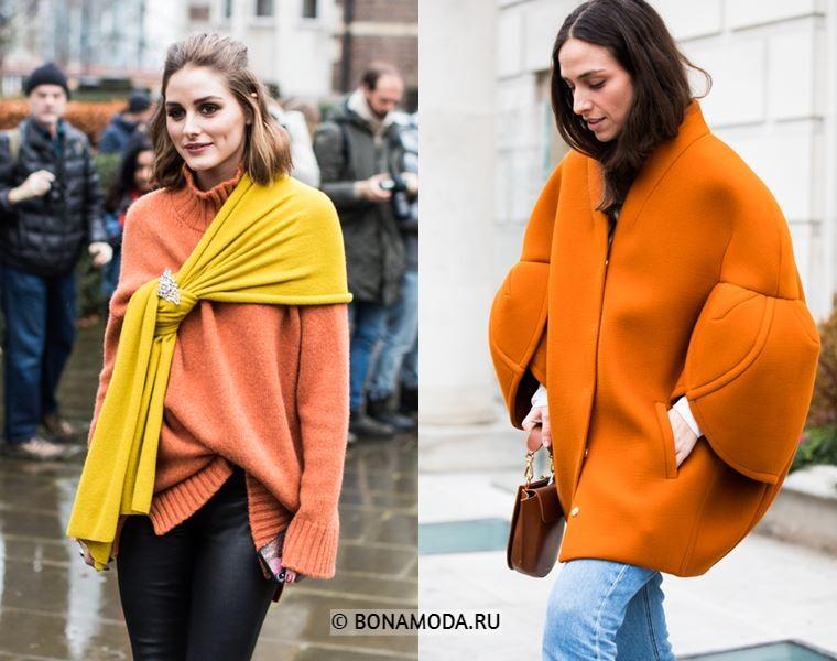 Уличный стиль Лондона осень-зима 2018-2019 - свитер с шарфом и полупальто оверсайз