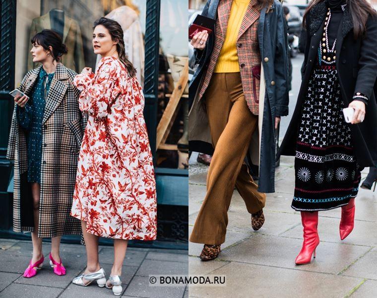 Уличный стиль Лондона осень-зима 2018-2019 - Пальто с принтом и стиль 70-х