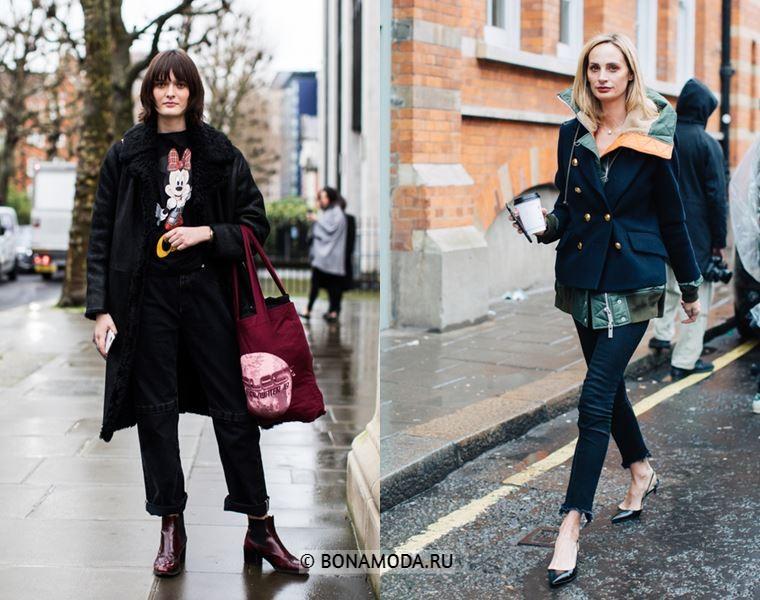 Уличный стиль Лондона осень-зима 2018-2019 - Чёрная дублёнка с брюками и костюм с блейзером и скинни