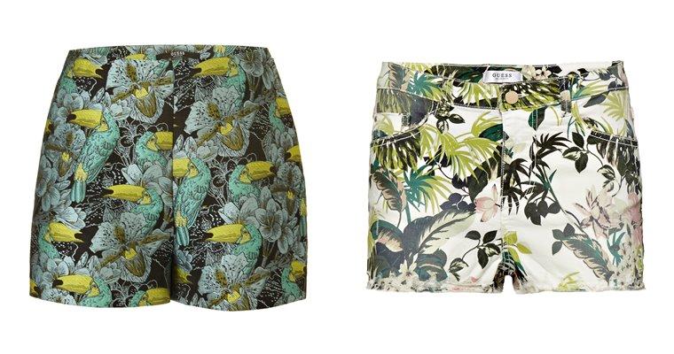 Женская коллекция Guess весна-лето 2018 - цветочные шорты