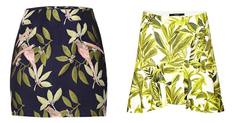 Женская коллекция Guess весна-лето 2018 - цветочные мини юбки