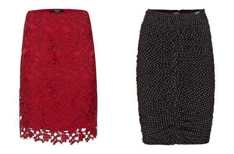 Женская коллекция Guess весна-лето 2018 - красная кружевная и черная юбка в горошек