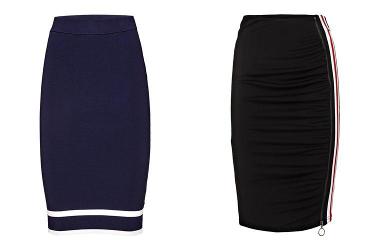 Женская коллекция Guess весна-лето 2018 - синяя и черная юбка-карандаш